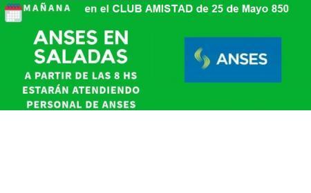 Este jueves 23 en el Club Amistad atiende Anses en Saladas