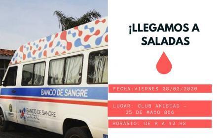 El Banco de Sangre Central de Corrientes realizará colecta externa de sangre en Saladas