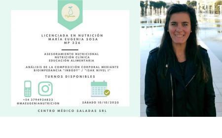 La Lic. en Nutrición Eugenia Sosa atiende el 10 de octubre en CMS